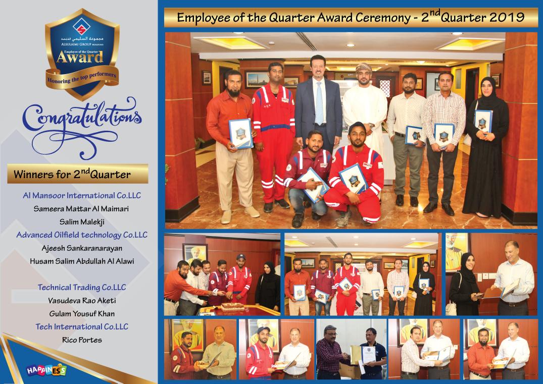 Employee of the Quarter Award - Second Quarter 2019